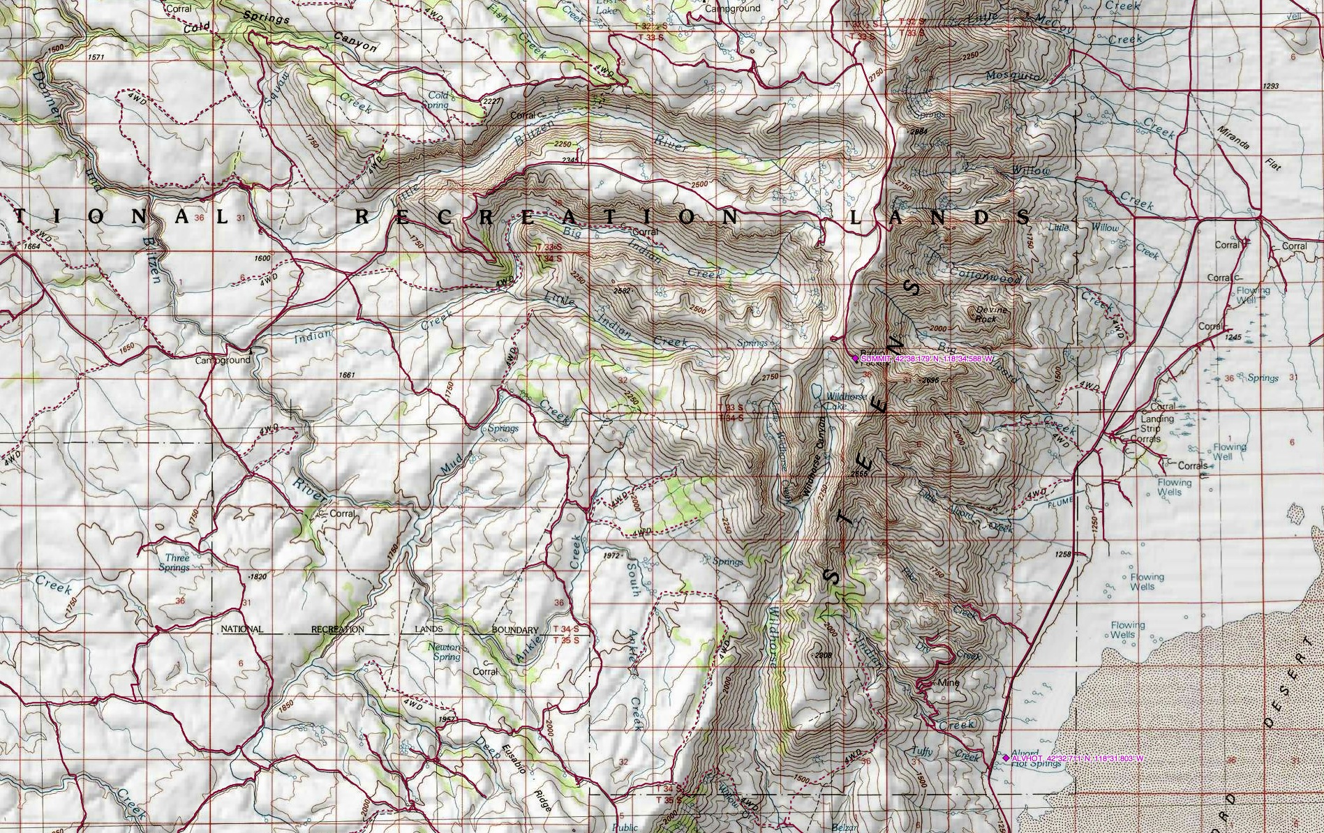 Alvord Desert Oregon Map.Hiking In Southeastern Oregon The Steens Mountain And The Alvord